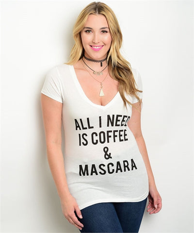 "Misses White Graphic T-Shirt ""All I Need Is Coffee And Mascara"""