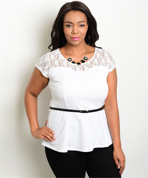 Women's Plus Size White Peplum Top with Belt and Lace Accents