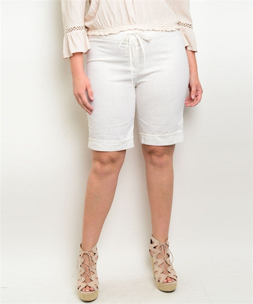 Women's Plus Size Ivory White Linen Shorts