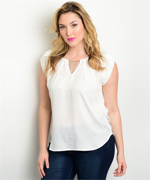 Women's Plus Size White Cap Sleeve Top with Rhinestone Details