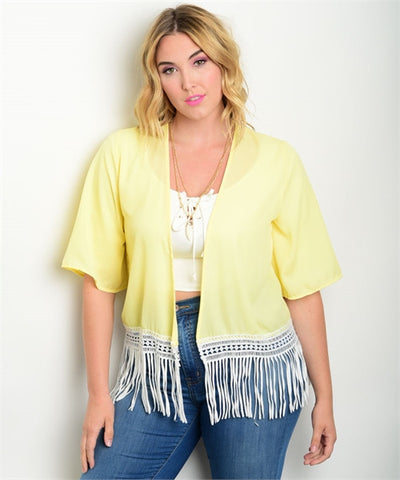 Women's Plus Size Yellow and White Kimono Cardigan with Fringe Accents