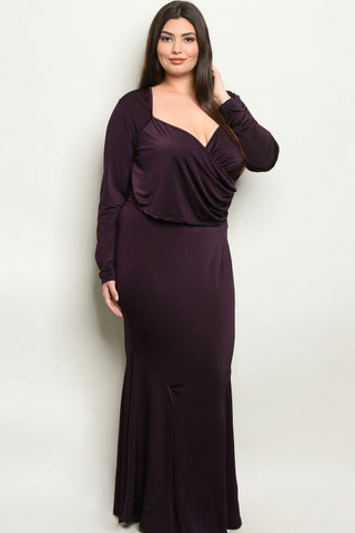 Purple Plus Size Formal Top and Skirt Set