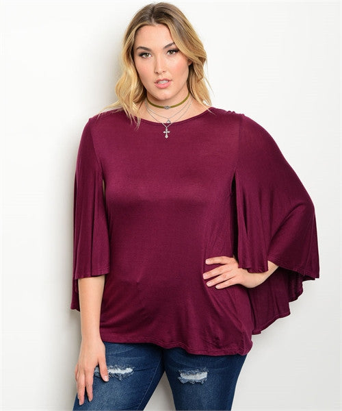 Women's Plus Size Purple Jersey Knit Top with Cape Sleeves
