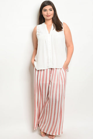 Red and Ivory Stripe Wide Leg Plus Size Pants