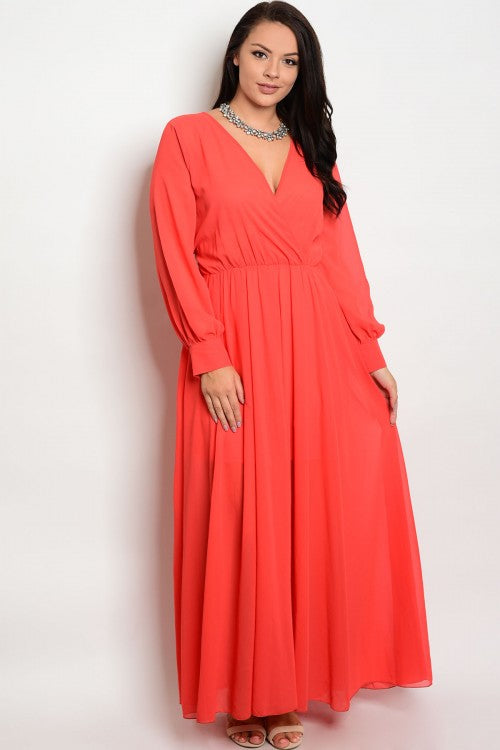 red chiffon plus size maxi dress