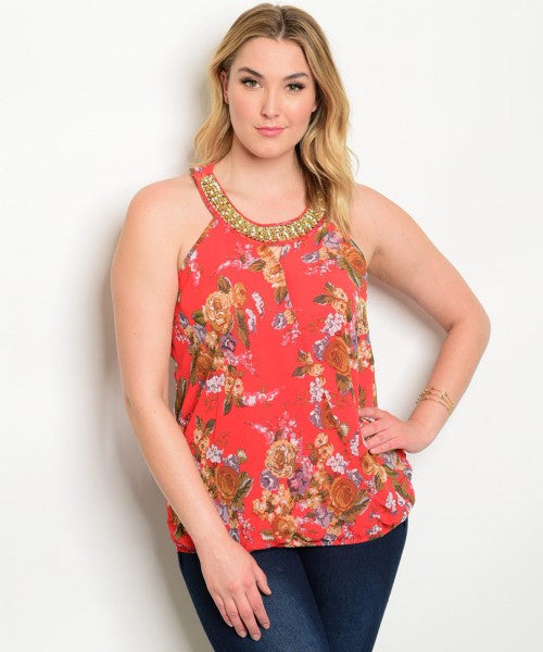 Women's Plus Size Red Floral Embellished Neckline Top