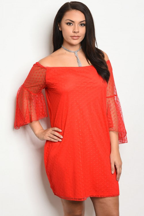 Red Mesh Lace Plus Size Bell Sleeve Dress