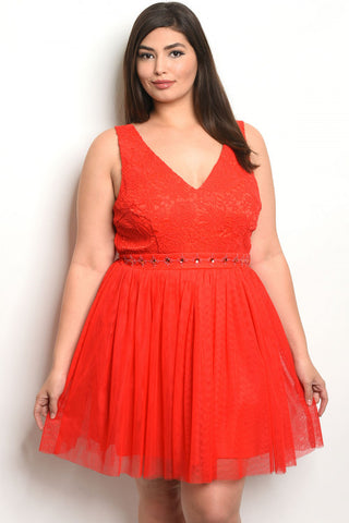 Red Plus Size Cocktail Dress
