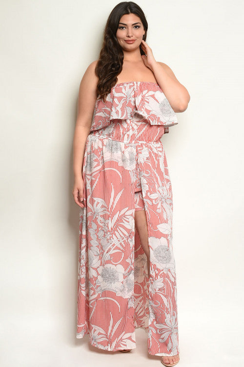 red plus size romper maxi dress