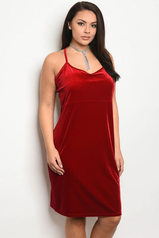 Red Velvet and Lace Plus Size Bodycon Dress
