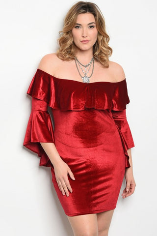 Red Velvet Cold Shoulder Bodycon Dress