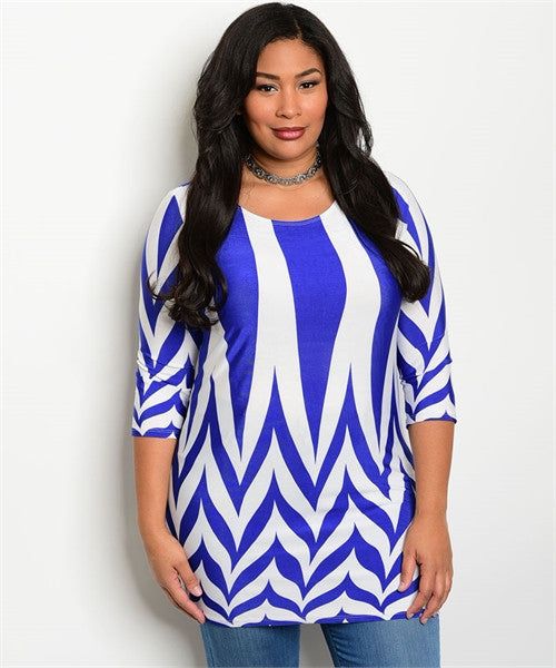 Women's Plus Size Royal Blue and White Tunic Top
