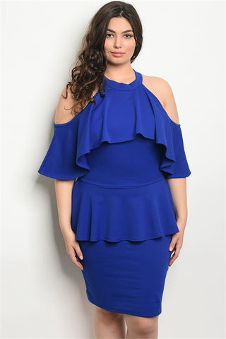 Royal Blue Cold Shoulder Plus Size Peplum Dress