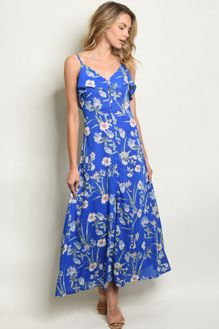 Royal Blue Floral Cold Shoulder Maxi Dress