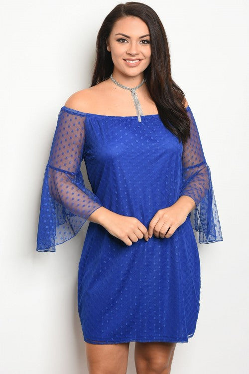 Royal Blue Mesh Lace Plus Size Bell Sleeve Dress
