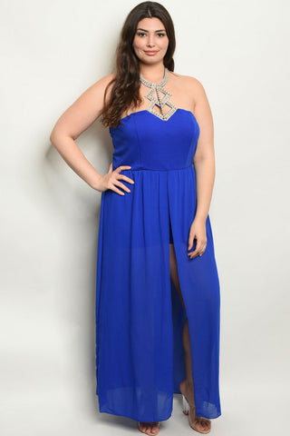 Royal Blue Jeweled Plus Size Romper Maxi Dress