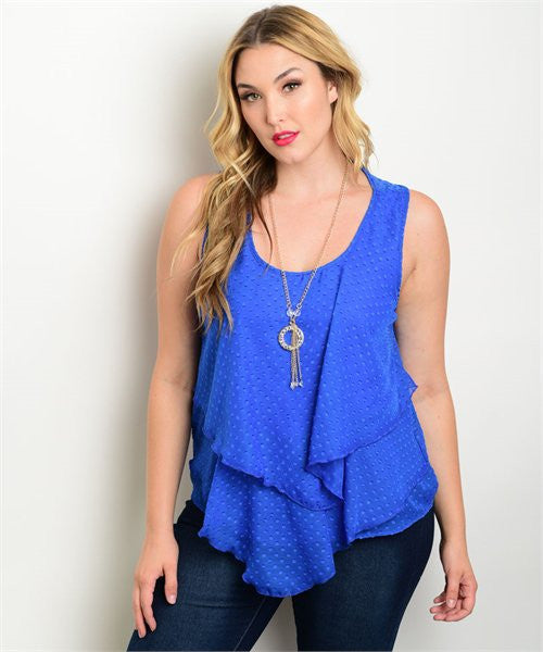 Women's Plus Size Royal Blue Layered Top with Necklace