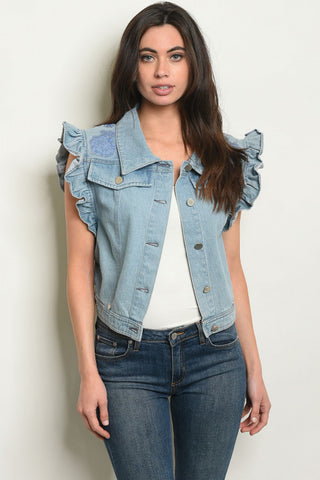 Ruffled Denim Vest with Accents