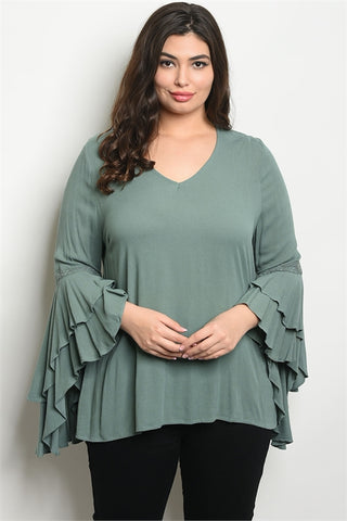 Sage Green Double Bell Sleeve Plus Size Tunic Top
