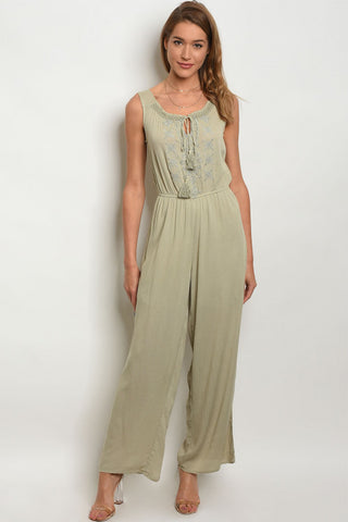 Sage Green Embroidered Accent Jumpsuit