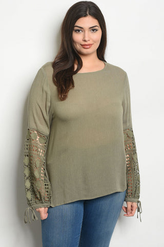 Sage Green Lace Accent Plus Size Tunic Top