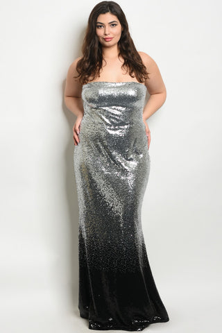 Black and Silver Sequin Strapless Plus Size Evening Gown