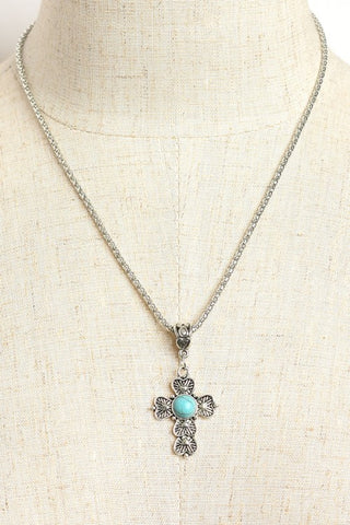 Silver Plated Cross Necklace with Turquoise Accent