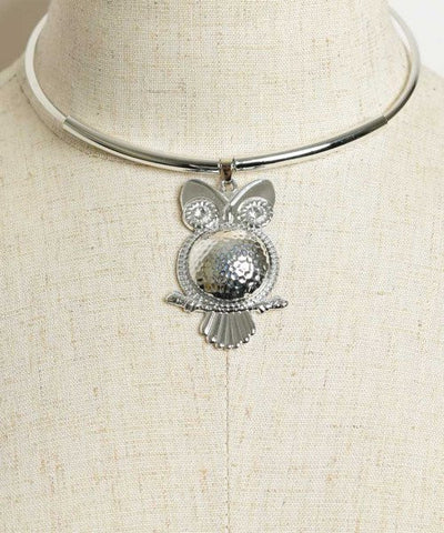 Women's Fashion Silverplated Owl Choker Necklace with Rhinestone Accents