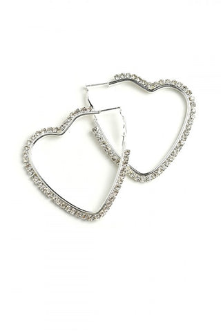 Silver Plate Heart Hoop Earrings