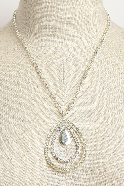 Silver Plate Triple Teardrop Chain Necklace