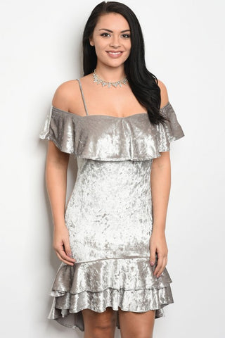 Silver Velvet Cold Shoulder Plus Size Cocktail Dress