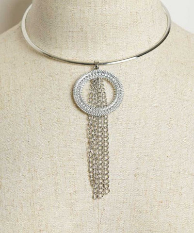 Silverplated Choker Necklace with Tassel Accents