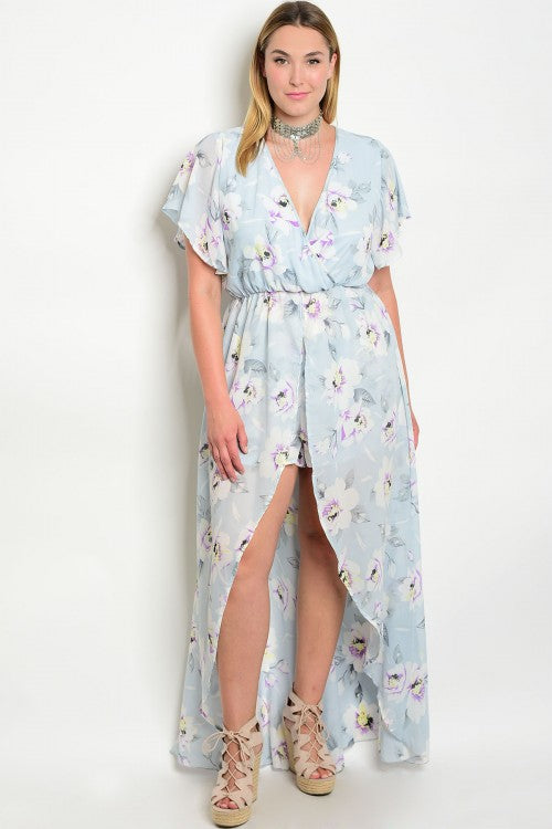 Soft Blue Floral Plus Size High Low Romper with Train