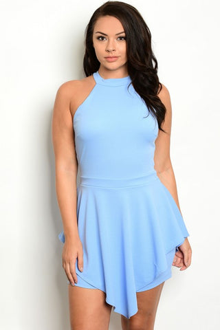 Soft Blue Plus Size Romper with Skirt