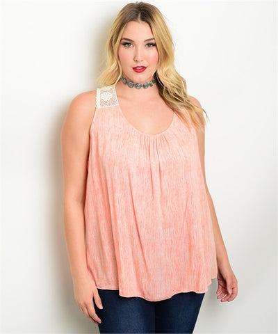 Women's Plus Size Soft Orange and Cream Crocheted Lace Top