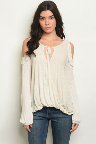 Tan Cold Shoulder Linen Top