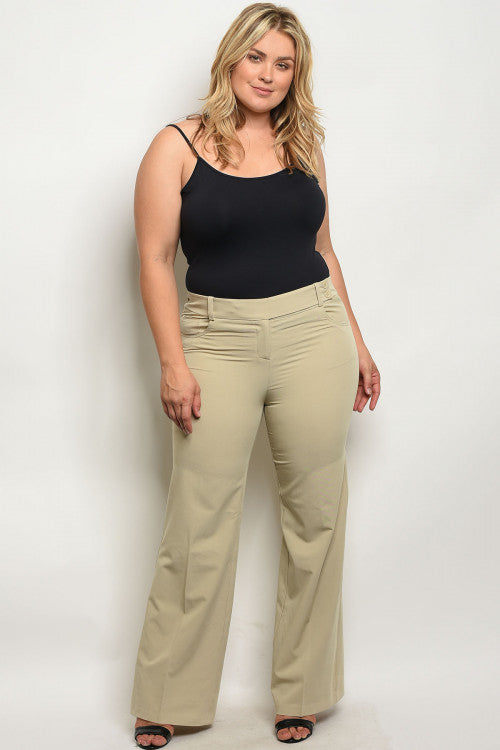 plus size tan wide leg trouser pants