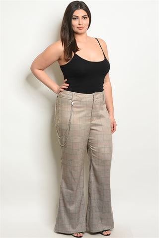 Taupe Checkered Wide Leg Plus Size Pants