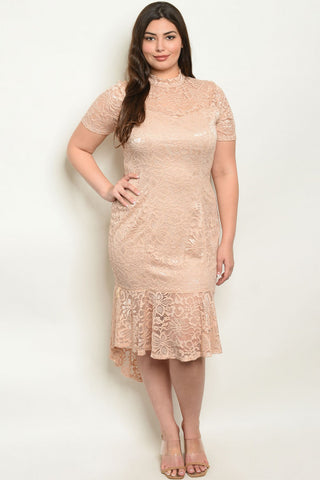 Taupe Lace Plus Size High Low Dress
