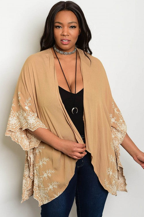 Women's Plus Size Taupe Cardigan with Embroidered Accents
