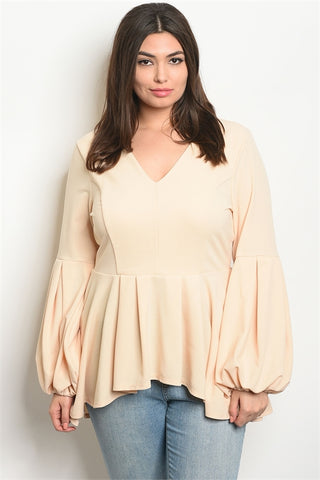 Taupe Long Puffy Sleeve Plus Size High Low Top