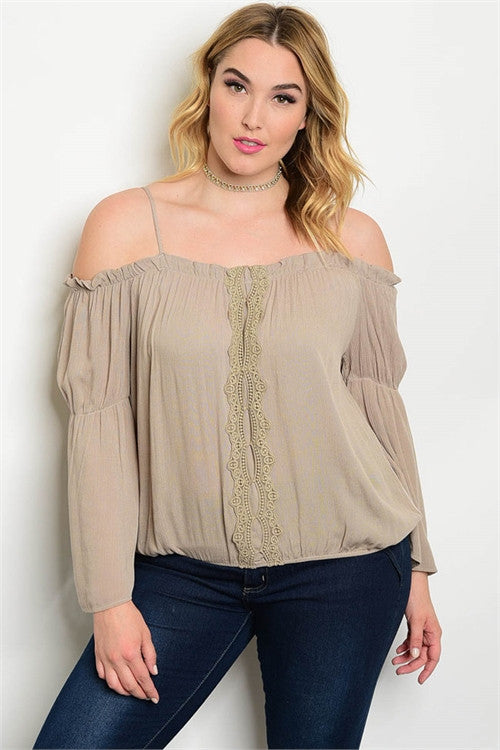 Women's Plus Size Taupe Bell Sleeve Peasant Top