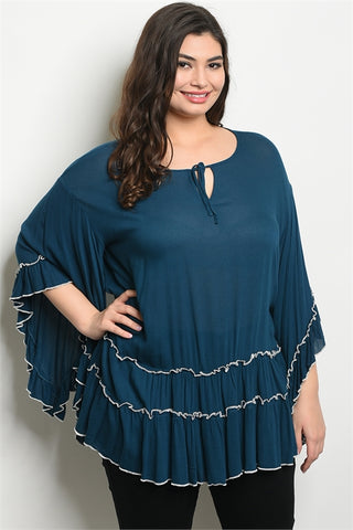 Teal Flutter Sleeve Plus Size Tunic Top