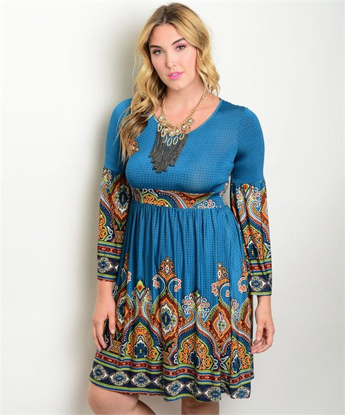 Women's Plus Size Teal Abstract Print Bell Sleeve Dress