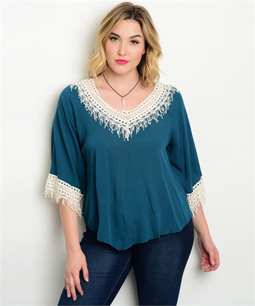 Women's Plus Size Teal and Ivory Top with Fringe Accents