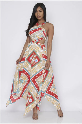 Teal Multi Print Halter Neck Maxi Dress