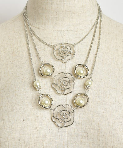 Silverplated Triple Rose and Faux Pearl Layered Necklace