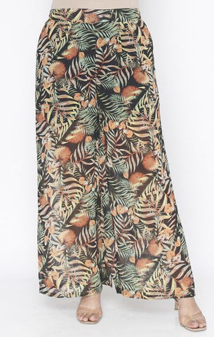 Black Floral Tropical Print Plus Size Pants