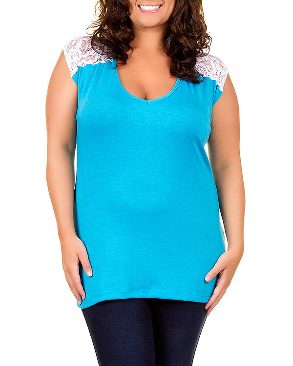turquoise blue lace accent plus size tunic top