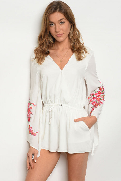 white floral bell sleeve romper
